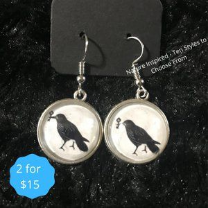 Nature Inspired Dangle Earrings Raven Goth Silver